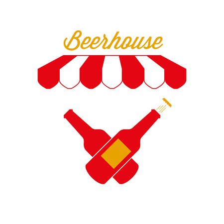 Beerhouse Pub Sign, Emblem. Red and White Striped Awning Tent. Crossed Bottles. Gold and Red Colors. Flat Vector Illustration. Standard-Bild - 129388735