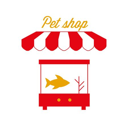 Pet Shop Sign, Emblem. Red and White Striped Awning Tent. Aquarium Fish. Gold and Red Colors. Flat Vector Illustration. Standard-Bild - 129388740