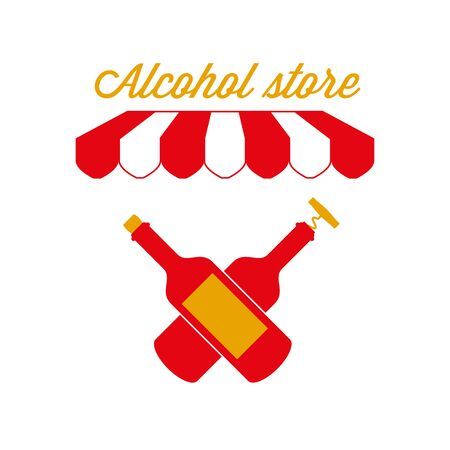 Alcohol Store, Wine Shop Sign, Emblem. Red and White Striped Awning Tent. Two Crossed Wine Bottles. Gold and Red Colors. Flat Vector Illustration. Standard-Bild - 129388739