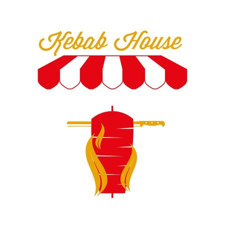 Kebab House Sign, Emblem. Red and White Striped Awning Tent. Grilled Meat. Gold and Red Colors. Flat Vector Illustration. Standard-Bild - 129388604
