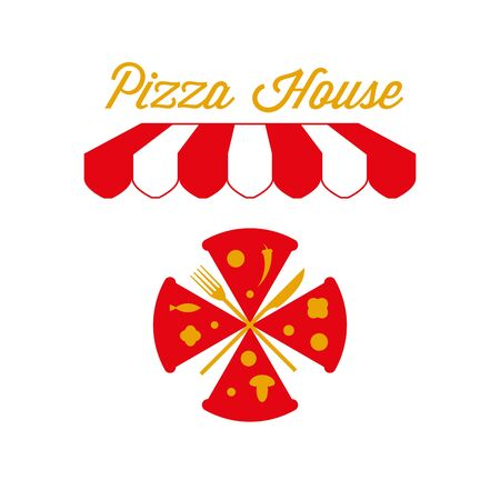 Pizza House, Pizzeria Sign, Emblem. Red and White Striped Awning Tent. Pizza, Knife and Fork. Gold and Red Colors. Flat Vector Illustration.