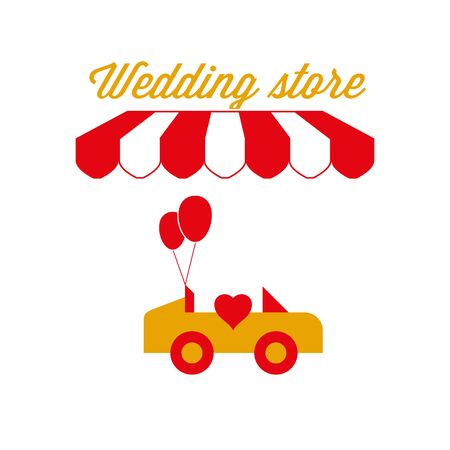 Wedding Store Sign, Emblem. Red and White Striped Awning Tent. Limo Rental. Gold and Red Colors. Flat Vector Illustration. Vettoriali
