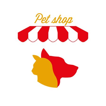 Pet Shop Sign, Emblem. Red and White Striped Awning Tent. Cat and Dog. Gold and Red Colors. Flat Vector Illustration. Standard-Bild - 129388607