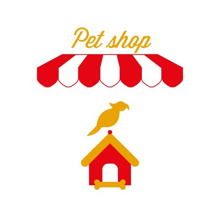 Pet Shop Sign, Emblem. Red and White Striped Awning Tent. Parrot and Doghouse. Gold and Red Colors. Flat Vector Illustration. Standard-Bild - 129388610