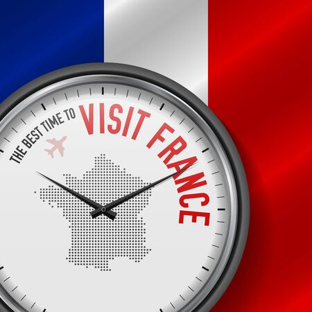 The Best Time to Visit France. Travel to France. Tourist Air Flight. Waving Flag Background and Dots Pattern Map on the Dial. Vector Illustration.