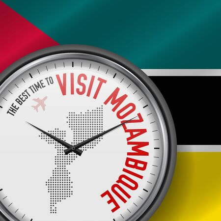 The Best Time to Visit Mozambique. Travel to Mozambique. Tourist Air Flight. Waving Flag Background and Dots Pattern Map on the Dial. Vector Illustration.