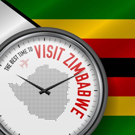 The Best Time to Visit Zimbabwe. Flight, Tour to Zimbabwe. Vector Illustration
