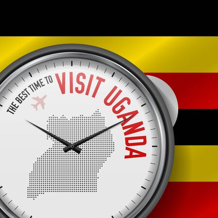 The Best Time to Visit Uganda. Flight, Tour to Uganda. Vector Illustration