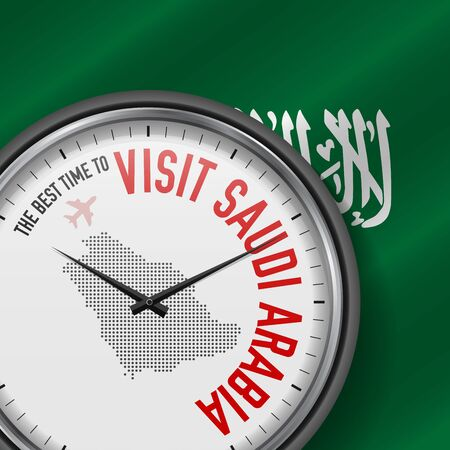 The Best Time to Visit Saudi Arabia. Flight, Tour to Saudi Arabia. Vector Illustration