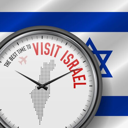 The Best Time to Visit Israel. Flight, Tour to Israel. Vector Illustration