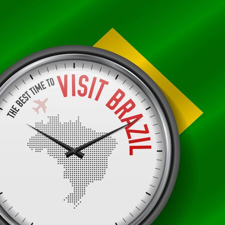 The Best Time to Visit Brazil. Flight, Tour to Brazil. Vector Illustration