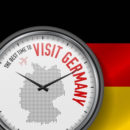 The Best Time to Visit Germany. Flight, Tour to Germany. Vector Illustration  イラスト・ベクター素材