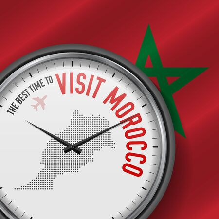 The Best Time to Visit Morocco. Flight, Tour to Morocco. Vector Illustration  イラスト・ベクター素材