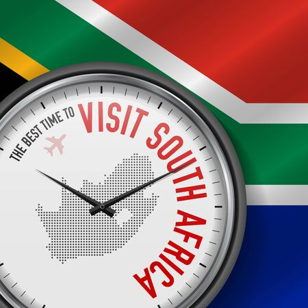 The Best Time to Visit South Africa. Flight, Tour to South Africa. Vector Illustration