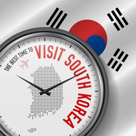 The Best Time to Visit South Korea. Flight, Tour to South Korea. Vector Illustration