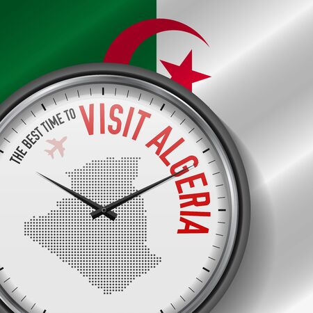 The Best Time to Visit Algeria. Flight, Tour to Algeria. Vector Illustration