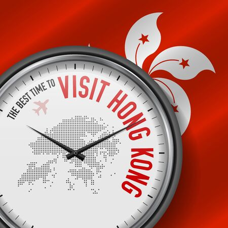 The Best Time to Visit Hong Kong. Flight, Tour to Hong Kong. Vector Illustration