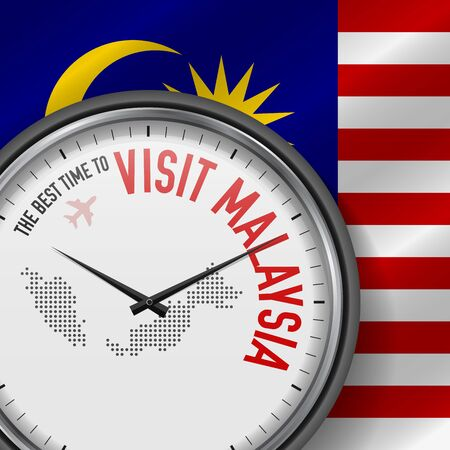 The Best Time to Visit Malaysia. Travel to Malaysia. Tourist Air Flight. Waving Flag Background and Dots Pattern Map on the Dial. Vector Illustration.  イラスト・ベクター素材