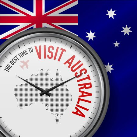The Best Time to Visit Australia. Travel to Australia. Tourist Air Flight. Waving Flag Background and Dots Pattern Map on the Dial. Vector Illustration.