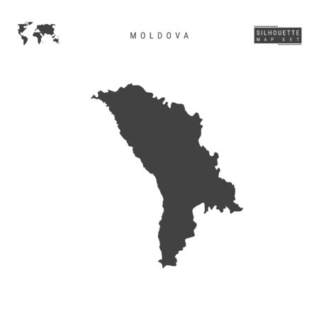 Moldova Blank Vector Map Isolated on White Background. High-Detailed Black Silhouette Map of Moldova. Illustration