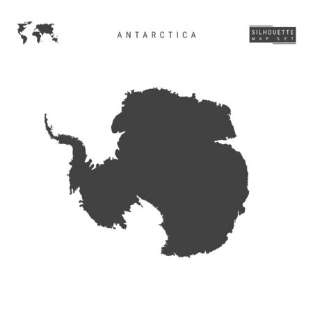 Antarctica Blank Vector Map Isolated on White Background. High-Detailed Black Silhouette Map of Antarctica.