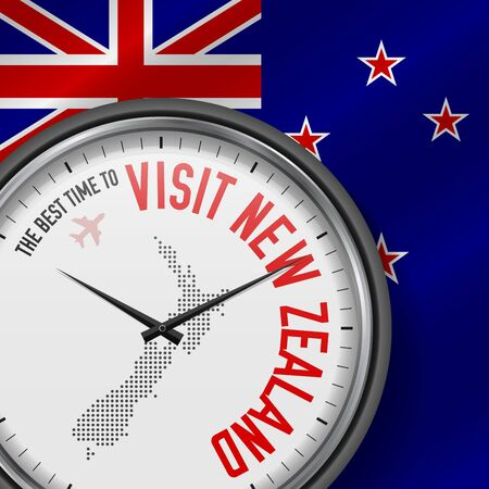 The Best Time to Visit New Zealand. Flight, Tour to New Zealand. Vector Illustration