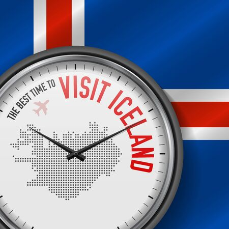 The Best Time to Visit Iceland. Flight, Tour to Iceland. Vector Illustration  イラスト・ベクター素材