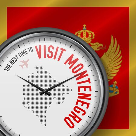 The Best Time to Visit Montenegro. Travel to Montenegro. Tourist Air Flight. Waving Flag Background and Dots Pattern Map on the Dial. Vector Illustration. Stock Illustratie