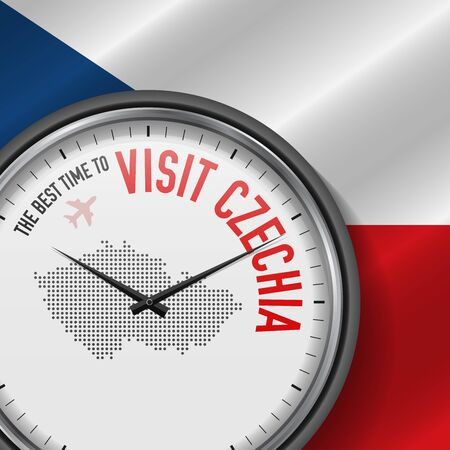 The Best Time to Visit Czechia. Travel to Czech Republic. Tourist Air Flight. Waving Flag Background and Dots Pattern Map on the Dial. Vector Illustration.