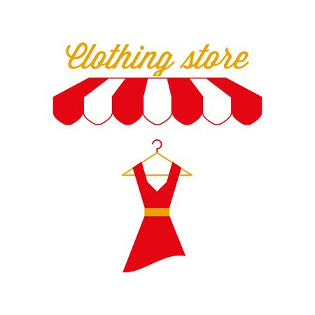 Clothing Store Sign, Emblem. Red and White Striped Awning Tent. Vector Illustration Standard-Bild - 132403107