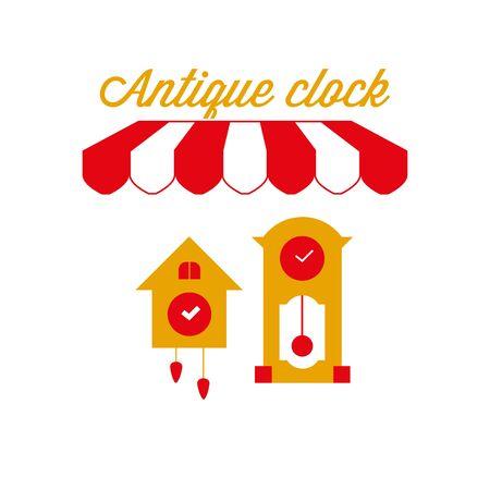 Antique Clock Sign, Emblem. Red and White Striped Awning Tent. Vector Illustration Standard-Bild - 132403109
