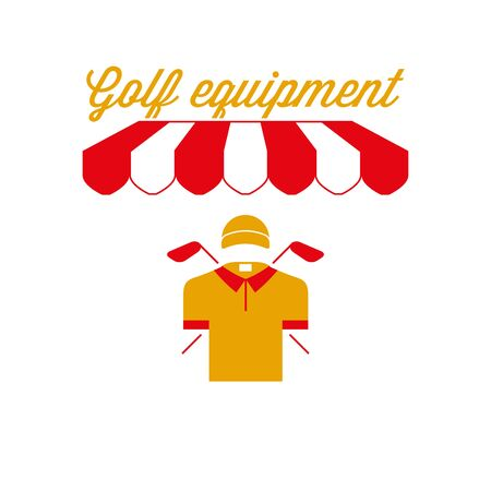 Golf Equipment Sign, Emblem. Red and White Striped Awning Tent. Vector Illustration Standard-Bild - 132403110