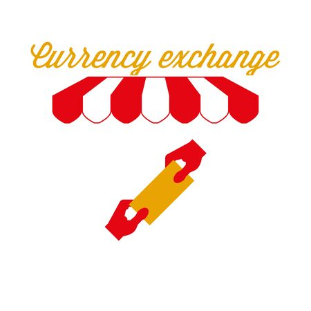 Currency Exchange Sign, Emblem. Red and White Striped Awning Tent. Vector Illustration Standard-Bild - 132403113