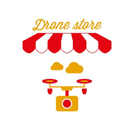 Drone Store Sign, Emblem. Red and White Striped Awning Tent. Vector Illustration
