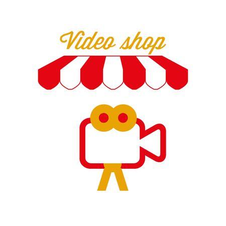 Video Shop Sign, Emblem. Red and White Striped Awning Tent. Vector Illustration Standard-Bild - 132403121