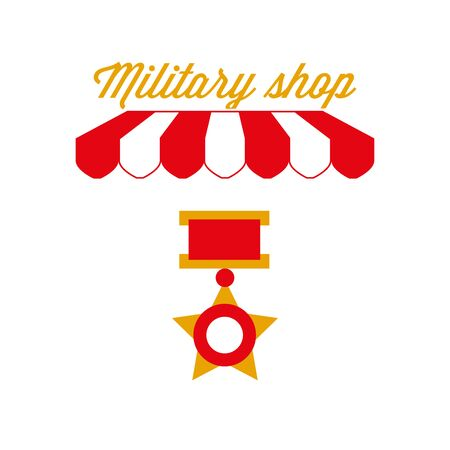 Army Clothes, Military Store Sign, Emblem. Red and White Striped Awning Tent. Vector Illustration 向量圖像
