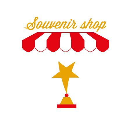 Souvenir Shop Sign, Emblem. Red and White Striped Awning Tent. Vector Illustration Standard-Bild - 132403123