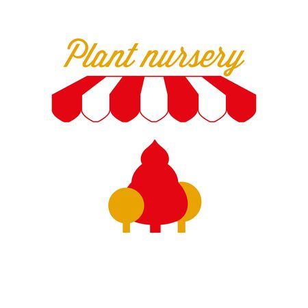 Plant Nursery Sign, Emblem. Red and White Striped Awning Tent. Vector Illustration Standard-Bild - 132403125