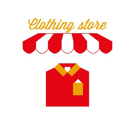 Clothing Store Sign, Emblem. Red and White Striped Awning Tent. Vector Illustration