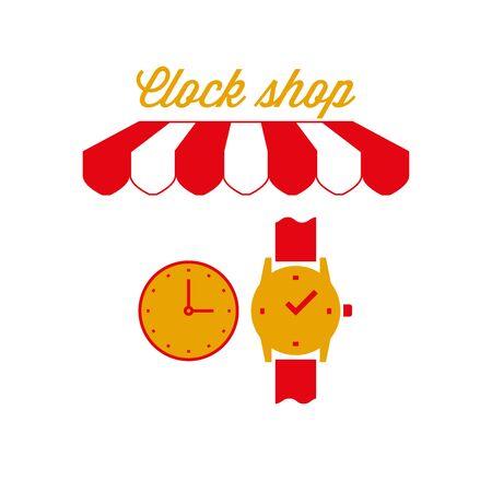 Clock Shop Sign, Emblem. Red and White Striped Awning Tent. Vector Illustration Standard-Bild - 132403208
