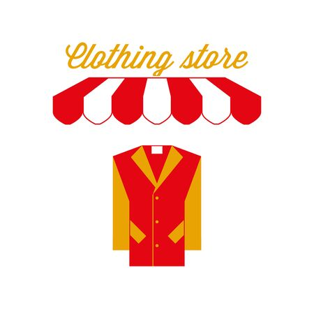 Clothing Store Sign, Emblem. Red and White Striped Awning Tent. Vector Illustration Standard-Bild - 132403211