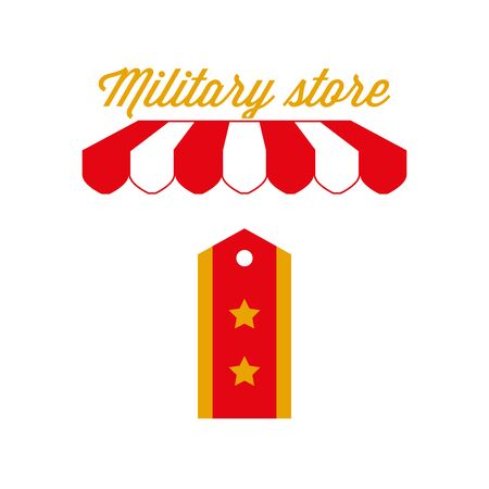 Army Clothes, Military Store Sign, Emblem. Red and White Striped Awning Tent. Vector Illustration Illustration