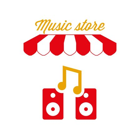 Music Store Sign, Emblem. Red and White Striped Awning Tent. Vector Illustration Standard-Bild - 132403212