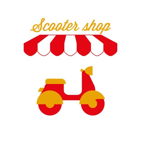 Motor Scooter Shop Sign, Emblem. Red and White Striped Awning Tent. Vector Illustration