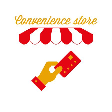 Convenience Store Sign, Emblem. Red and White Striped Awning Tent. Vector Illustration Standard-Bild - 132403216