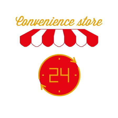 Convenience Store Sign, Emblem. Red and White Striped Awning Tent. Vector Illustration