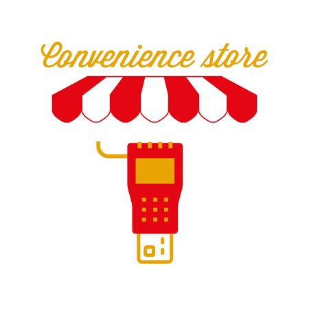 Convenience Store Sign, Emblem. Red and White Striped Awning Tent. Vector Illustration Standard-Bild - 132403220