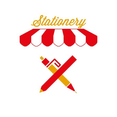 Stationery Sign, Emblem. Red and White Striped Awning Tent. Vector Illustration Standard-Bild - 132403221