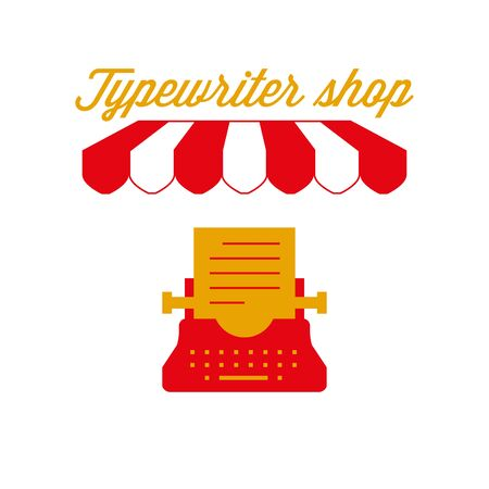 Typewriter Shop Sign, Emblem. Red and White Striped Awning Tent. Vintage Typewriter Icon. Gold and Red Colors. Flat Vector Illustration.