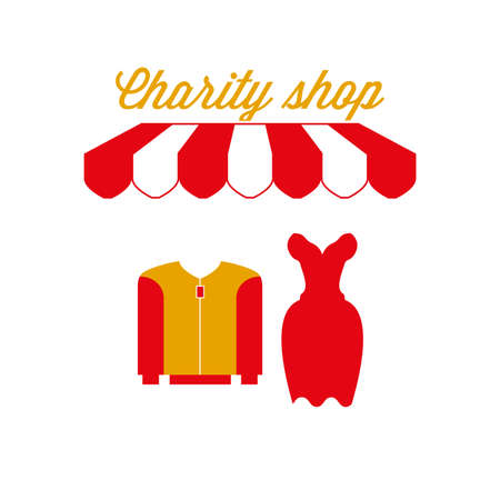 Charity Shop Sign, Emblem. Red and White Striped Awning Tent. Men's and Women's Clothing Icon. Gold and Red Colors. Flat Vector Illustration. Иллюстрация